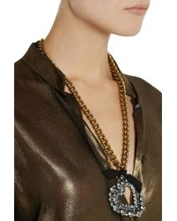 Lanvin | Metallic Mira Gold-Tone Crystal Necklace | Lyst