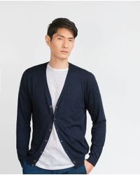 Zara | Blue Cotton Cardigan for Men | Lyst