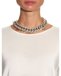 Saint Laurent | Metallic Punk Gourmette Chain-Link Choker | Lyst