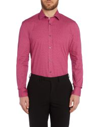 Ted Baker - Red Archane Slim Fit Geometric Print Shirt for Men - Lyst