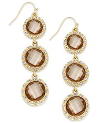 INC International Concepts - Metallic Gold-tone Mauve Triple Stone Linear Earrings - Lyst