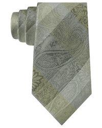Sean John - Yellow Plaid Paisley Tie for Men - Lyst
