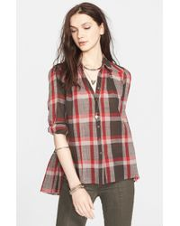 Free People - Gray 'Peppy In Plaid' Button Front Shirt - Lyst