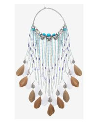 Express | Blue Turquoise Feather Fringe Statement Necklace | Lyst