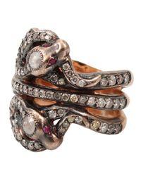 Sylva & Cie | Gray Triple Snake Ring | Lyst