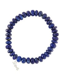 Sydney Evan | Blue 8Mm Faceted Lapis Beaded Bracelet With 14K Gold/Diamond Small Love Charm (Made To Order) | Lyst