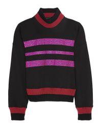 Jonathan Saunders - Purple Renee Glitter-finished Cotton-blend Jersey Sweatshirt - Lyst