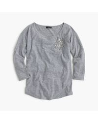 J.Crew | Gray Three-quarter-sleeve Embellished T-shirt | Lyst