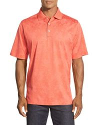 Bugatchi | Orange Floral Stripe Short Sleeve Polo for Men | Lyst