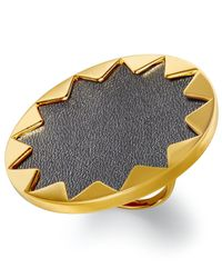 House of Harlow 1960 - Metallic Gold-tone Black Leather Round Sunburst Ring - Lyst