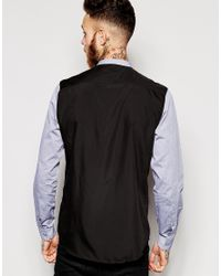 ASOS - Blue Shirt In Long Sleeve With Grandad Collar for Men - Lyst