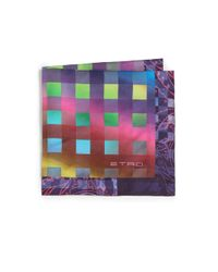 Etro - Purple Multicolor Checks Pocket Square for Men - Lyst