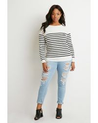Forever 21 - Black Plus Size Classic Striped Sweater - Lyst