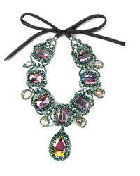 Night Market - Green Crystal Ribbon Necklace - Lyst