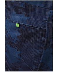 BOSS Green | Blue 'leeman Print-w' | Slim Fit, Stretch Cotton Blend Pants for Men | Lyst