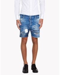 DSquared² | Blue Square Crotch Shorts for Men | Lyst