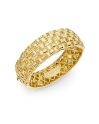 Roberto Coin - Metallic 18k Yellow Gold Basketweave Bracelet - Lyst