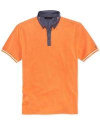 Sean John - Orange Chambray-Collar Pique Polo for Men - Lyst