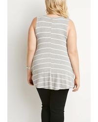 Forever 21 - Gray Plus Size Striped Trapeze Tank You've Been Added To The Waitlist - Lyst
