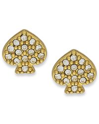 kate spade new york | Metallic New York Earrings, 12K Gold-Plated Crystal Signature Spade Stud Earrings | Lyst