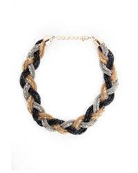 Missguided | Gia Metallic Rope Twist Necklace Black | Lyst
