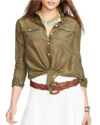 Lauren by Ralph Lauren | Green Silk-cotton Blend Shirt | Lyst