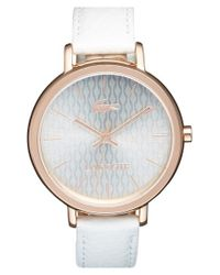 Lacoste White 'nice' Guilloche Dial Leather Strap Watch