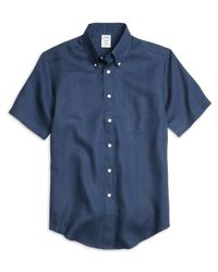 Brooks Brothers | Blue Regent Fit Linen Short-sleeve Sport Shirt for Men | Lyst