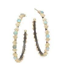 "Armenta | Metallic Old World Diamond, Opal & 18k Yellow Gold Cravelli Hoop Earrings/2"" | Lyst"