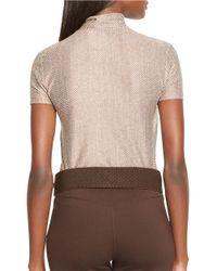 Lauren by Ralph Lauren - Brown Short-sleeved Turtleneck Top - Lyst
