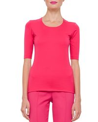 Akris - Pink Stretch-cotton Half-sleeve Top - Lyst