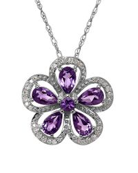 Lord & Taylor - Purple Amethyst, Diamond And Sterling Silver Pendant Necklace - Lyst