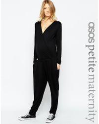 ASOS | Petite Wrap Jumpsuit - Black | Lyst