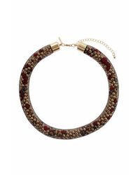 TOPSHOP - Brown Mesh Filled Rope Collar - Lyst