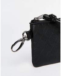 ASOS - Leather Zip Around Wallet With Embossed Suede - Black for Men - Lyst
