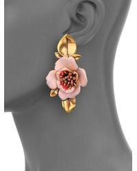 Oscar de la Renta - Pink Painted Flower Clip-On Drop Earrings - Lyst