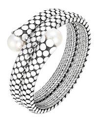 John Hardy | Metallic Dot Pearl Double Coil Bracelet | Lyst