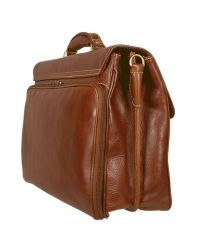 Chiarugi - Brown Men's Genuine Leather Double Gusset Briefcase for Men - Lyst