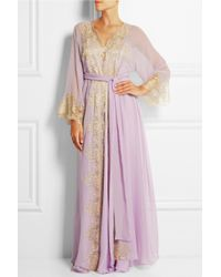 Rosamosario - Purple Camelot Mon Amour Lace-Trimmed Silk-Georgette Robe - Lyst