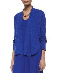Eileen Fisher - Blue Organic Linen/cotton Slub Cardigan - Lyst