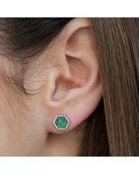 Anne Sisteron   Blue 14kt Yellow Gold Opal Diamond Hexagon Stud Earrings   Lyst