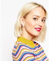 ASOS - Pink Irridescent Double Earrings - Lyst
