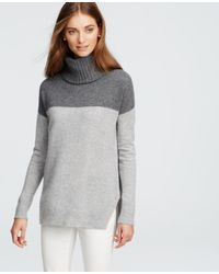 Ann Taylor | Gray Cashmere Colorblock Sweater | Lyst
