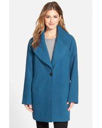 Calvin Klein | Blue Oversize Collar Boyfriend Coat | Lyst