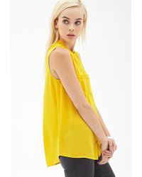 Forever 21 - Yellow Crepe Woven Sleeveless Blouse - Lyst