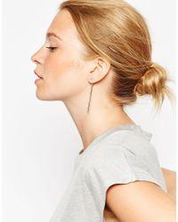 ASOS - Metallic Long Bar Connecting Swing Earrings - Lyst