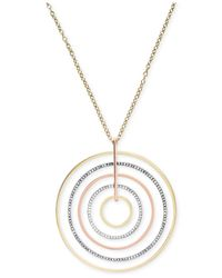Michael Kors | Metallic Tri-Tone Circle Large Pendant Necklace | Lyst
