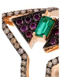 Nikos Koulis - Metallic Diamond, Emerald & Pink-Gold Ring - Lyst