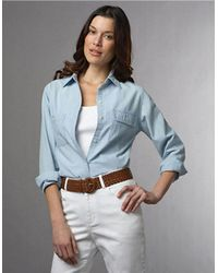 Lauren by Ralph Lauren | Blue Plus Chambray Pocket Shirt | Lyst