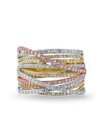 Anne Sisteron - Multicolor 14kt Multi Gold Diamond Wire Ring - Lyst